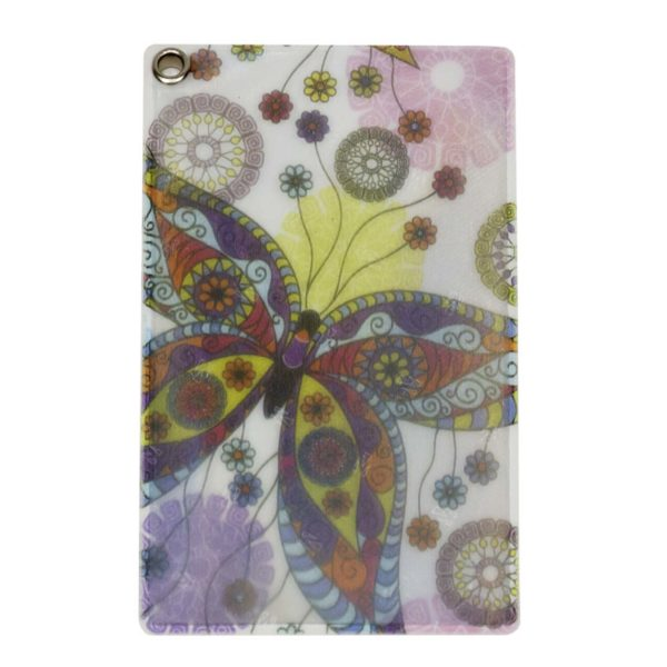 Front of Reflective, Single Riveted Transit Card Holder with Butterflies