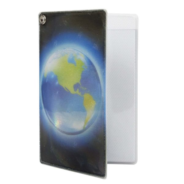 Reflective, Folded Riveted Transit Card Holder with Planet Earth