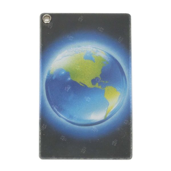 Front of Reflective, Single Riveted Transit Card Holder with Planet Earth