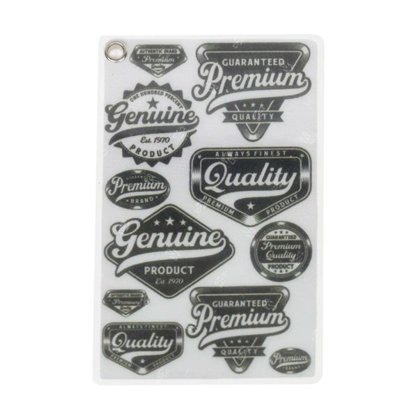 Front of Reflective, Single Riveted Transit Card Holder with Quality Labels