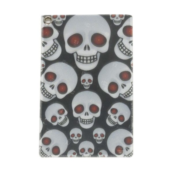 Front of Reflective, Single Riveted Transit Card Holder with Skulls
