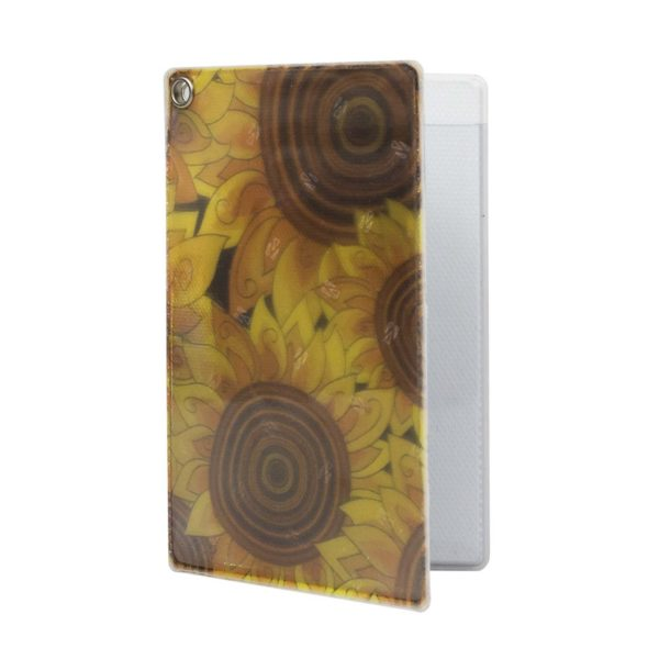 Reflective, Folded, Riveted Transit Card Holder with Sunflowers
