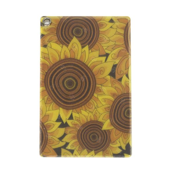 Front of Reflective, Single Riveted Transit Card Holder with Sunflowers