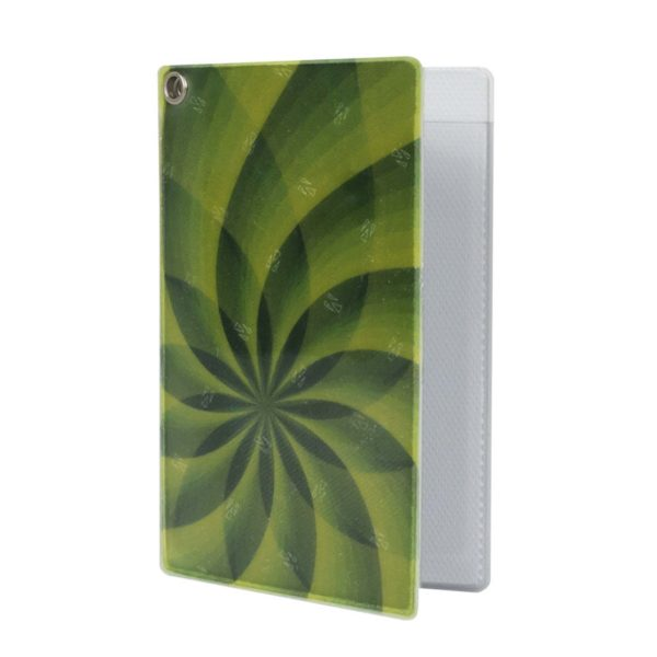 Reflective, Folded Riveted Transit Card Holder with Green Swirl