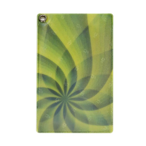 Front of Reflective, Single Riveted Transit Card Holder with Green Swirl